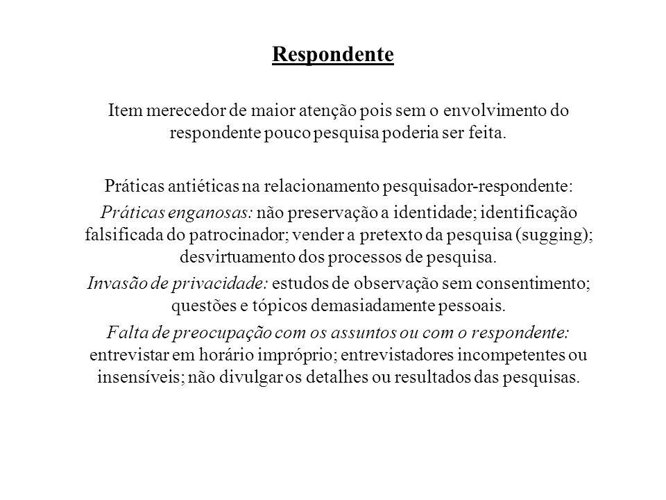 Práticas antiéticas na relacionamento pesquisador-respondente: