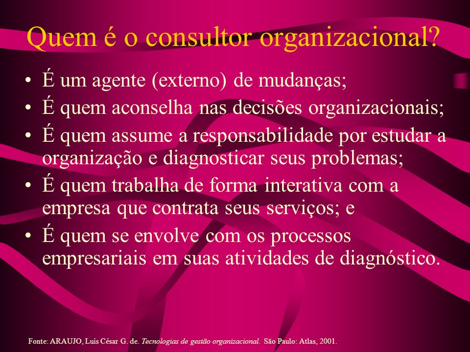 Quem é o consultor organizacional