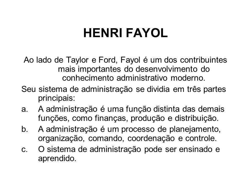 HENRI FAYOL Ao lado de Taylor e Ford, Fayol é um dos contribuintes mais importantes do desenvolvimento do conhecimento administrativo moderno.