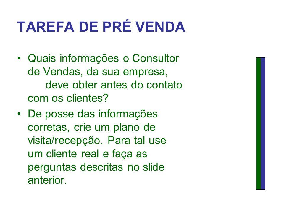 TAREFA DE PRÉ VENDA Quais informações o Consultor de Vendas, da sua empresa, deve obter antes do contato com os clientes
