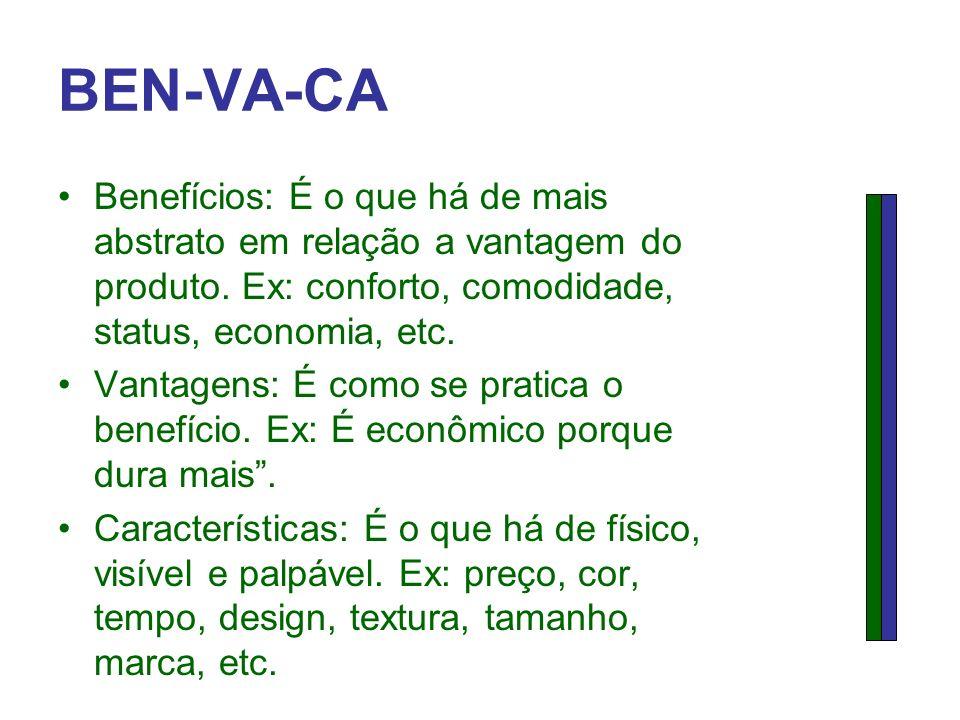 BEN-VA-CA Benefícios: É o que há de mais abstrato em relação a vantagem do produto. Ex: conforto, comodidade, status, economia, etc.