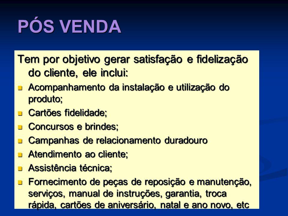 PÓS VENDATem por objetivo gerar satisfação e fidelização do cliente, ele inclui: Acompanhamento da instalação e utilização do produto;