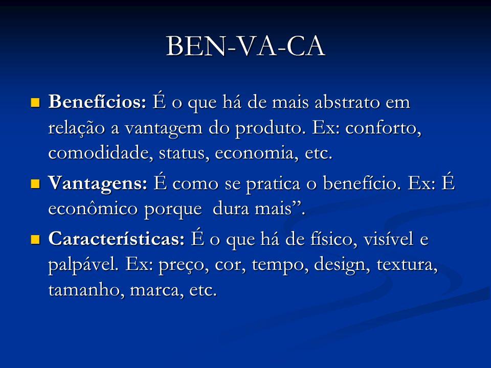 BEN-VA-CABenefícios: É o que há de mais abstrato em relação a vantagem do produto. Ex: conforto, comodidade, status, economia, etc.