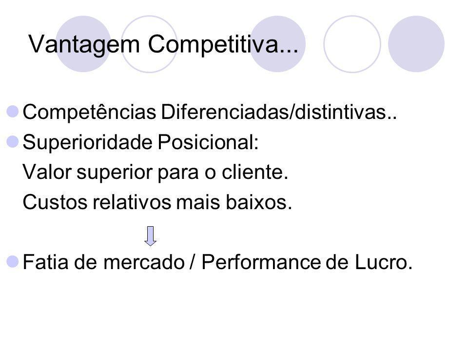 Vantagem Competitiva... Competências Diferenciadas/distintivas..