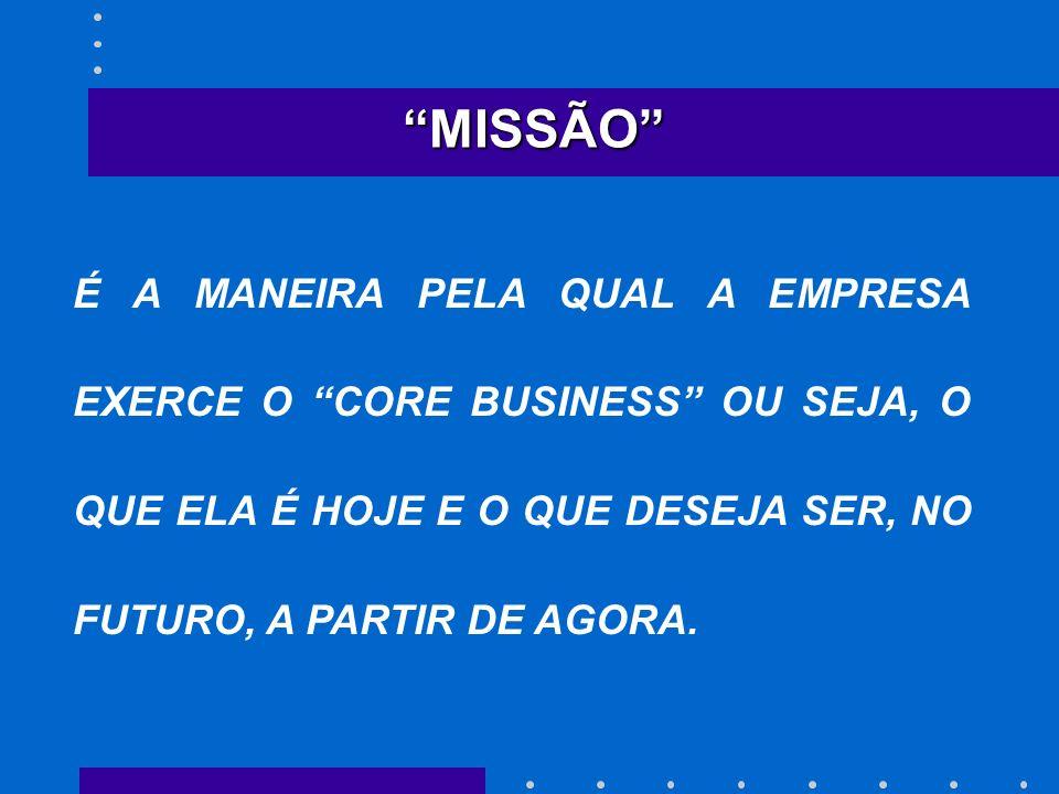 MISSÃO É A MANEIRA PELA QUAL A EMPRESA EXERCE O CORE BUSINESS OU SEJA, O QUE ELA É HOJE E O QUE DESEJA SER, NO FUTURO, A PARTIR DE AGORA.