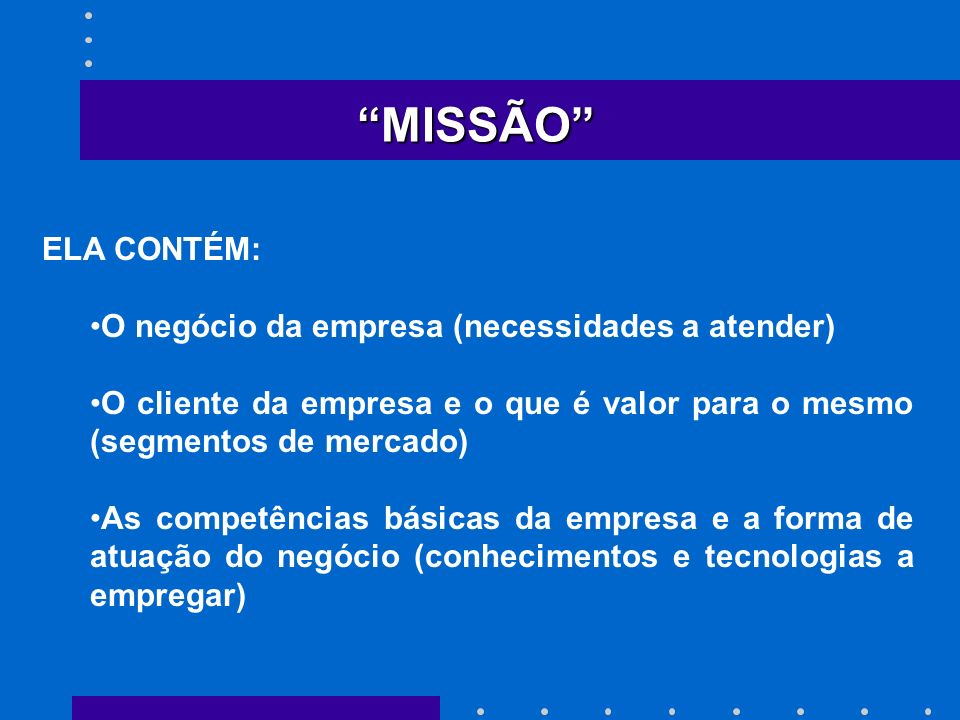 MISSÃO ELA CONTÉM: O negócio da empresa (necessidades a atender)