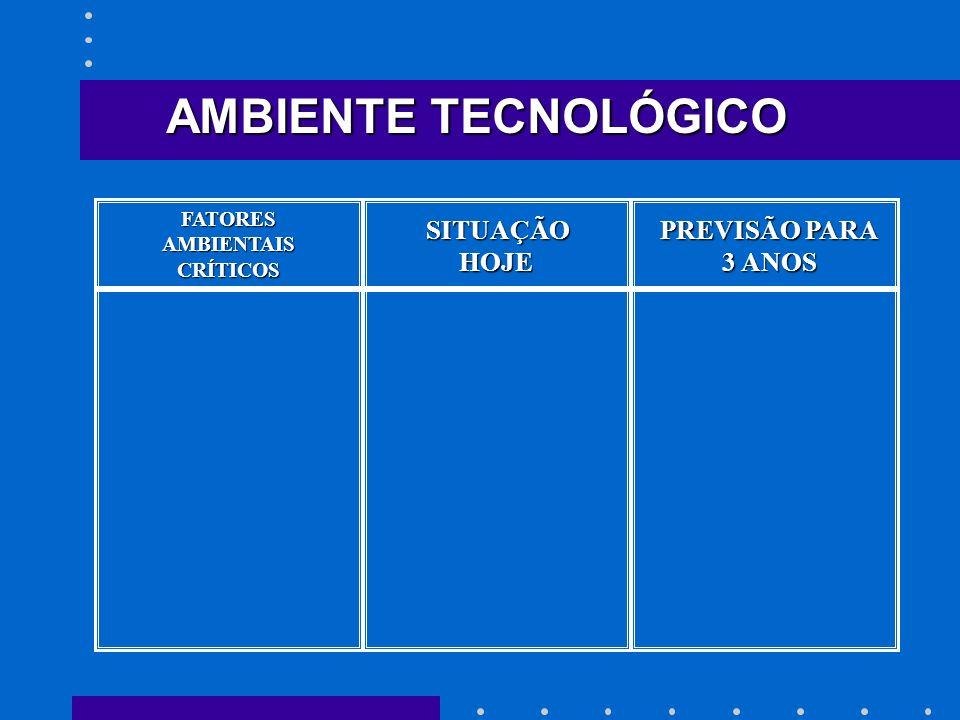 AMBIENTE TECNOLÓGICO SITUAÇÃO HOJE PREVISÃO PARA 3 ANOS FATORES