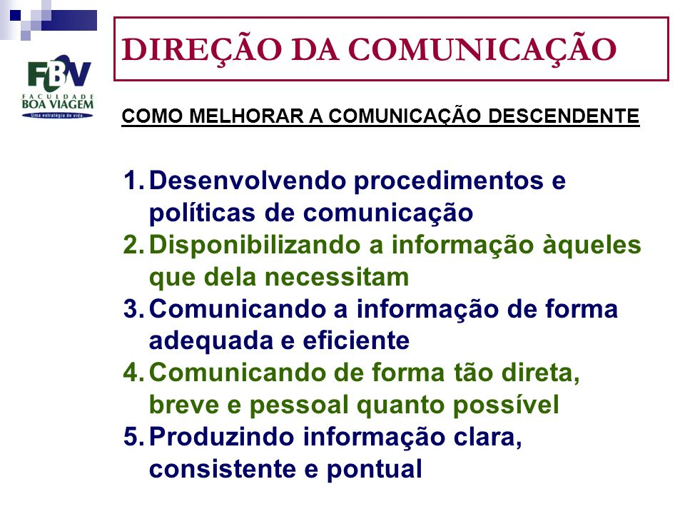 DIREÇÃO DA COMUNICAÇÃO