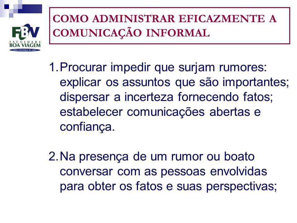 COMO ADMINISTRAR EFICAZMENTE A COMUNICAÇÃO INFORMAL