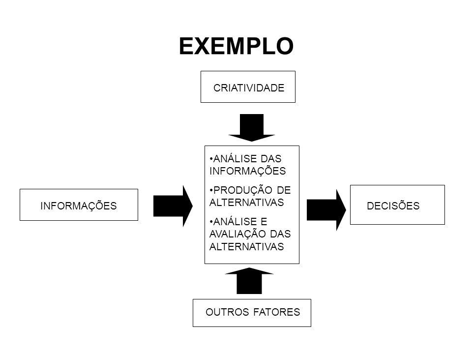 EXEMPLO CRIATIVIDADE ANÁLISE DAS INFORMAÇÕES PRODUÇÃO DE ALTERNATIVAS