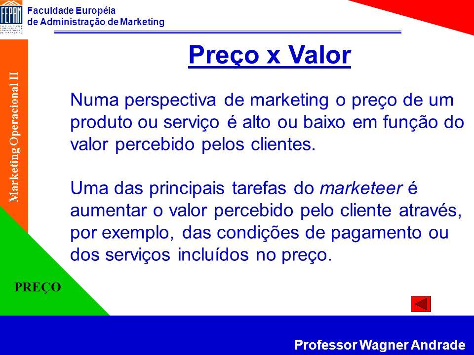Preço x Valor Numa perspectiva de marketing o preço de um produto ou serviço é alto ou baixo em função do valor percebido pelos clientes.