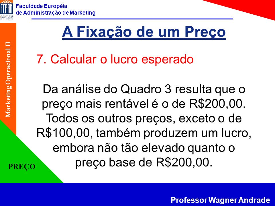 A Fixação de um Preço 7. Calcular o lucro esperado