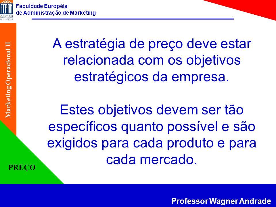 A estratégia de preço deve estar relacionada com os objetivos estratégicos da empresa.