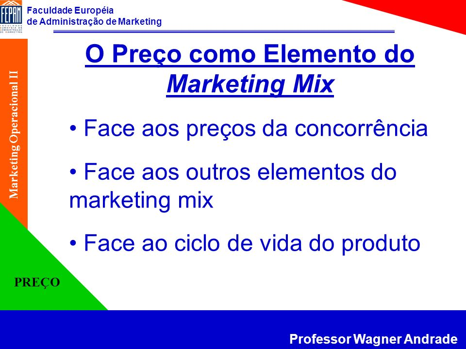 O Preço como Elemento do Marketing Mix