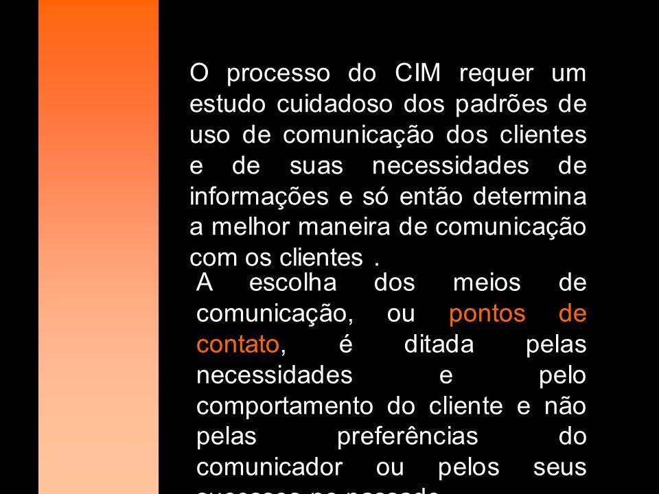 O processo do CIM requer um estudo cuidadoso dos padrões de uso de comunicação dos clientes e de suas necessidades de informações e só então determina a melhor maneira de comunicação com os clientes .
