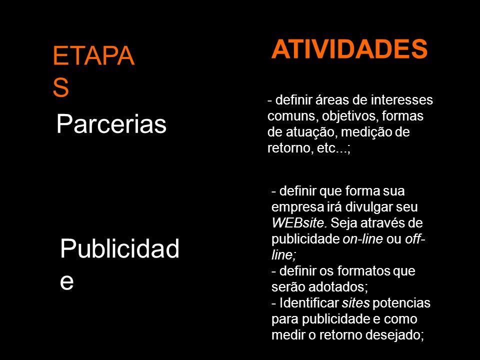 ATIVIDADES ETAPAS Parcerias Publicidade