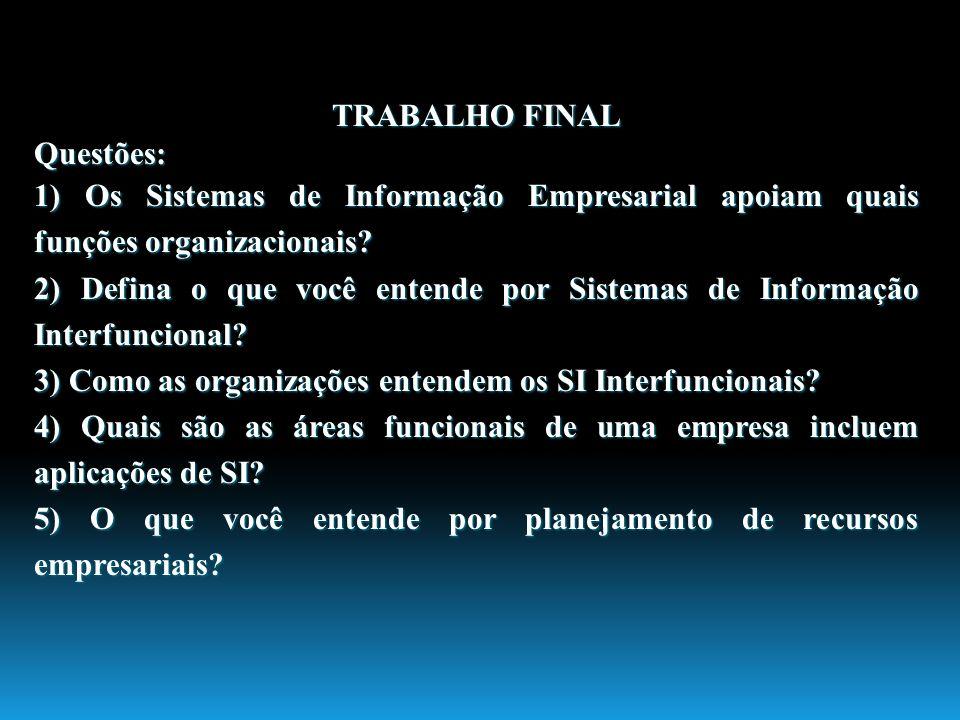 TRABALHO FINAL Questões: 1) Os Sistemas de Informação Empresarial apoiam quais funções organizacionais