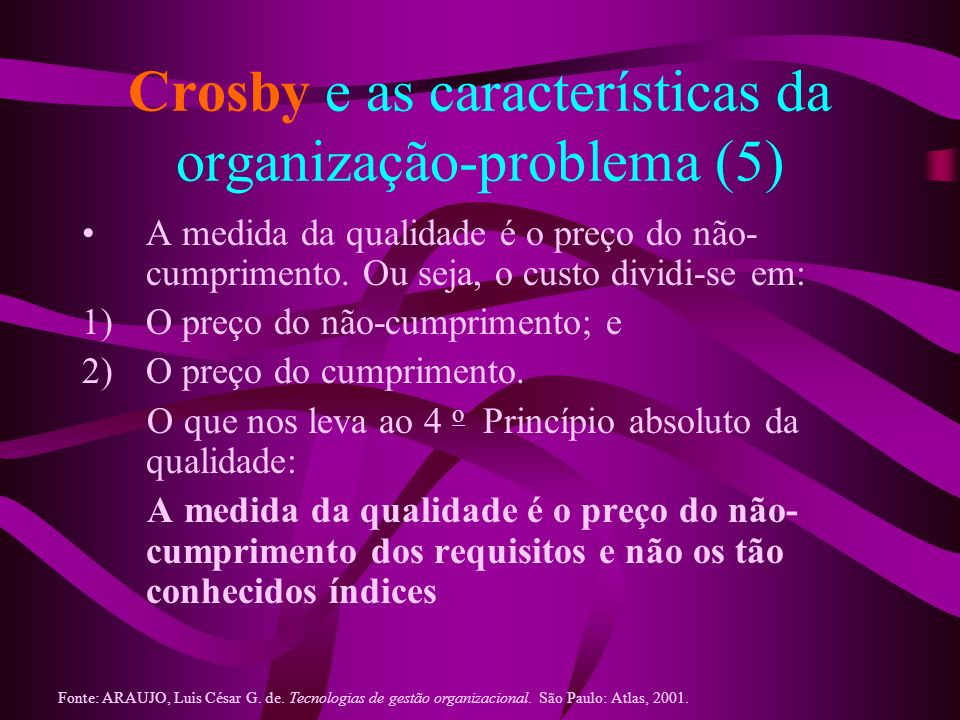 Crosby e as características da organização-problema (5)