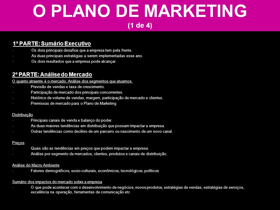 O PLANO DE MARKETING (1 de 4)