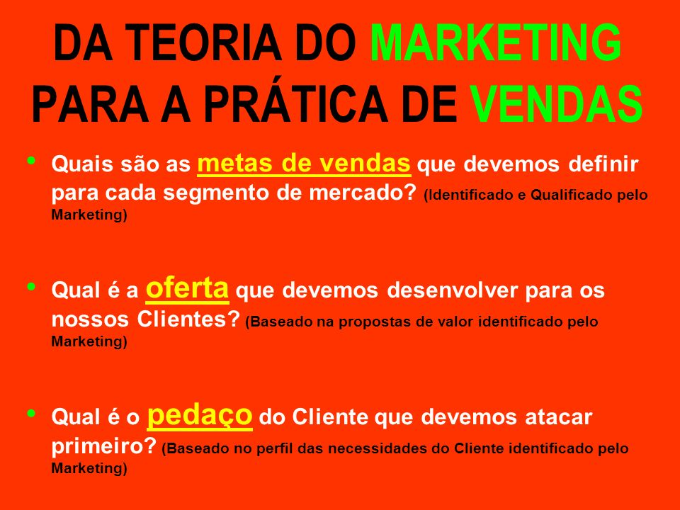 DA TEORIA DO MARKETING PARA A PRÁTICA DE VENDAS