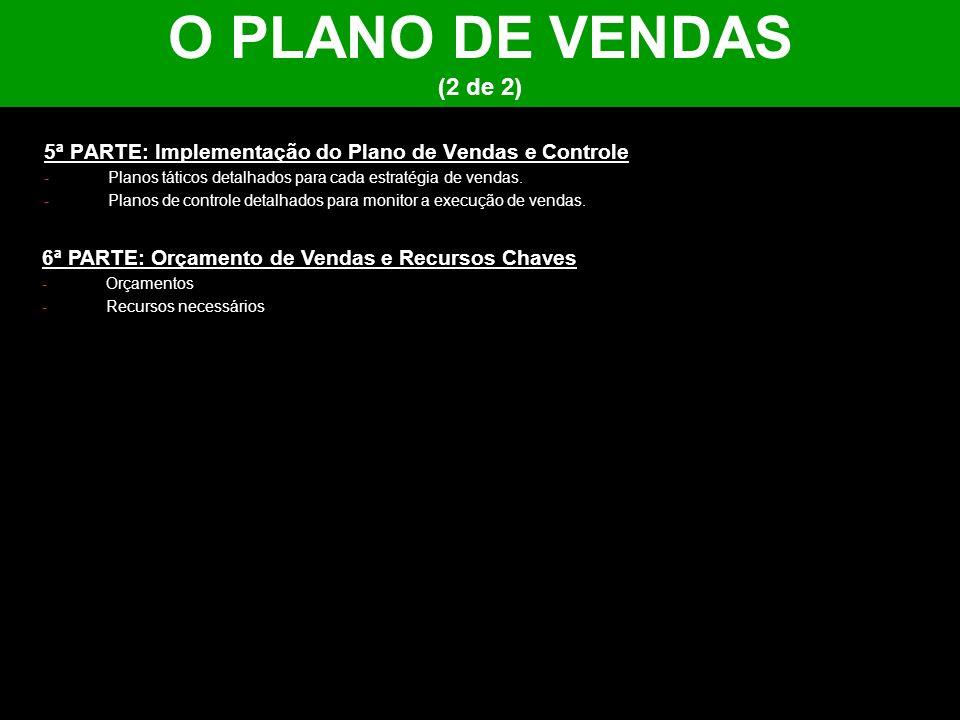 O PLANO DE VENDAS (2 de 2) 5ª PARTE: Implementação do Plano de Vendas e Controle. Planos táticos detalhados para cada estratégia de vendas.