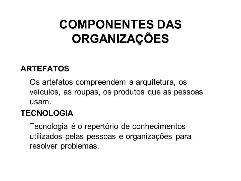 COMPONENTES DAS ORGANIZAÇÕES