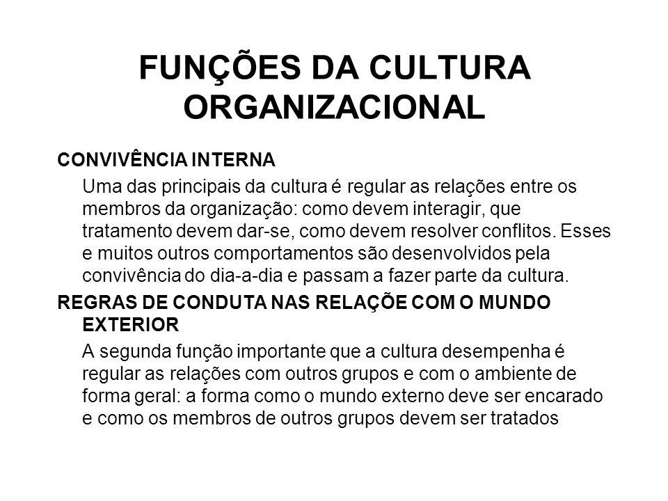 FUNÇÕES DA CULTURA ORGANIZACIONAL