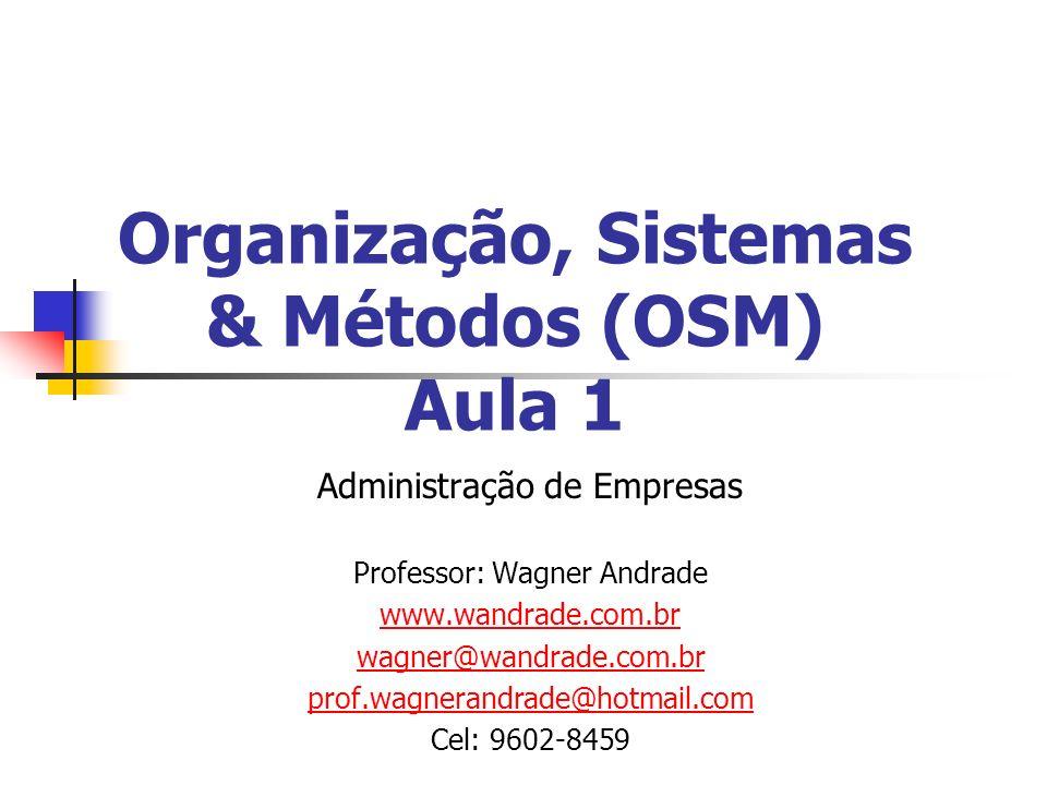 Organização, Sistemas & Métodos (OSM) Aula 1