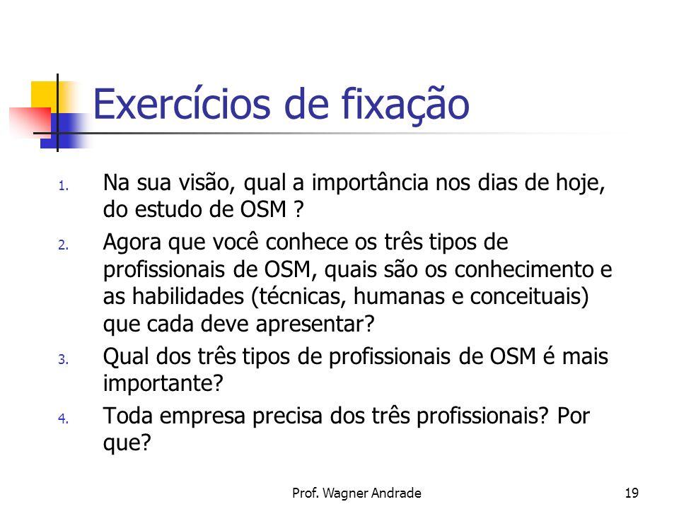 Exercícios de fixação Na sua visão, qual a importância nos dias de hoje, do estudo de OSM