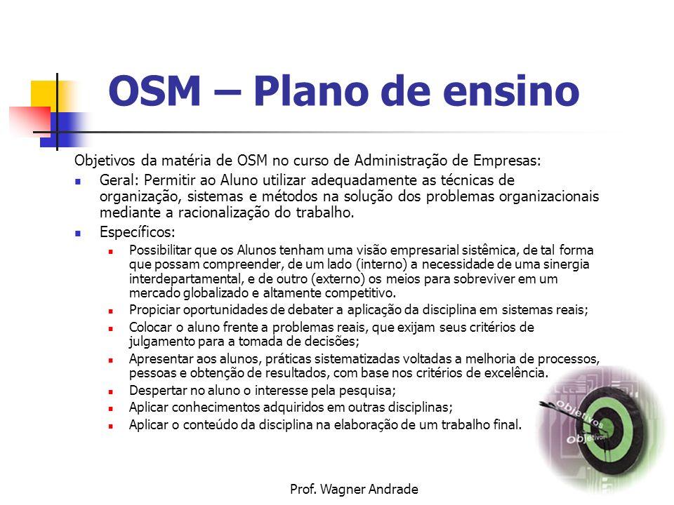 OSM – Plano de ensino Objetivos da matéria de OSM no curso de Administração de Empresas: