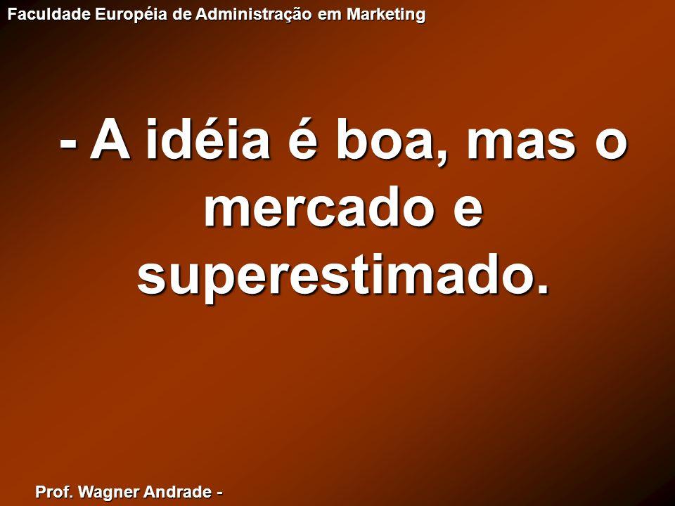 - A idéia é boa, mas o mercado e superestimado.