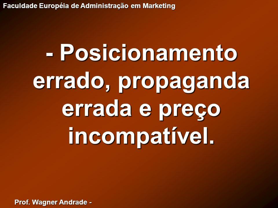- Posicionamento errado, propaganda errada e preço incompatível.