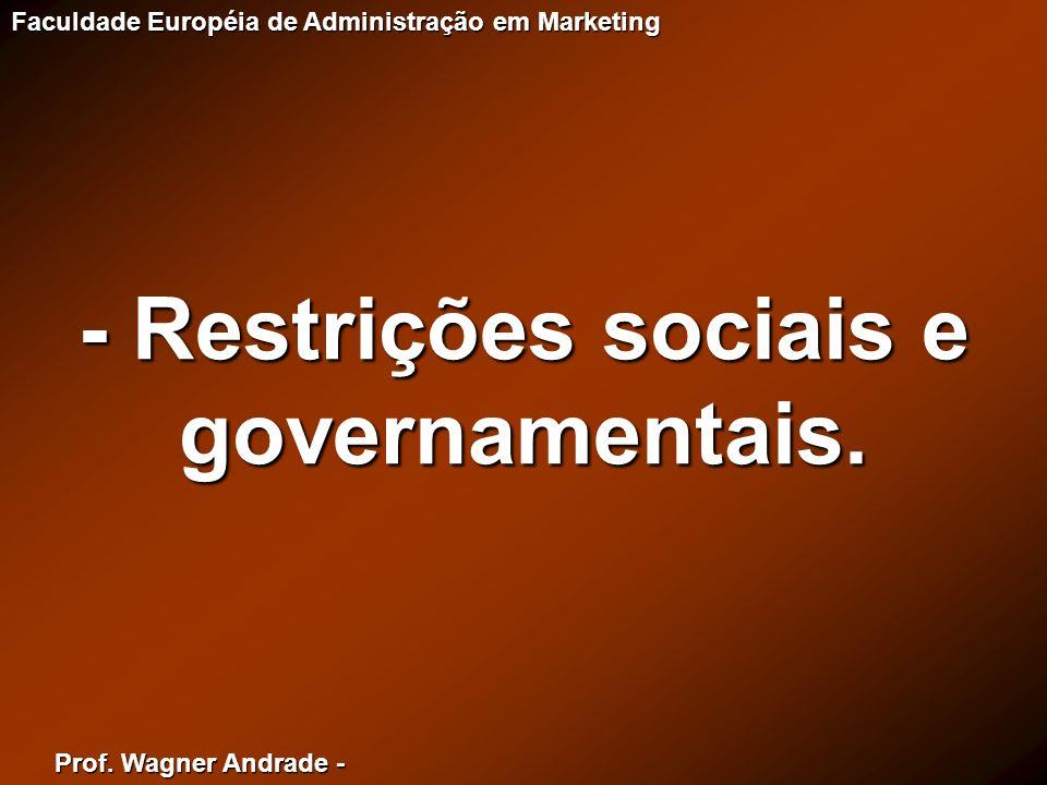 - Restrições sociais e governamentais.