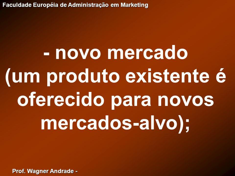 (um produto existente é oferecido para novos mercados-alvo);