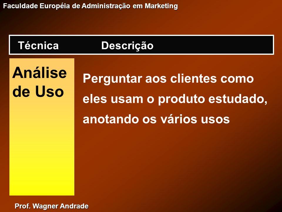 Técnica Descrição. Análise de Uso. Perguntar aos clientes como eles usam o produto estudado, anotando os vários usos.
