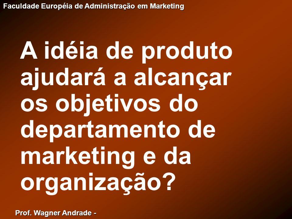 A idéia de produto ajudará a alcançar os objetivos do departamento de marketing e da organização