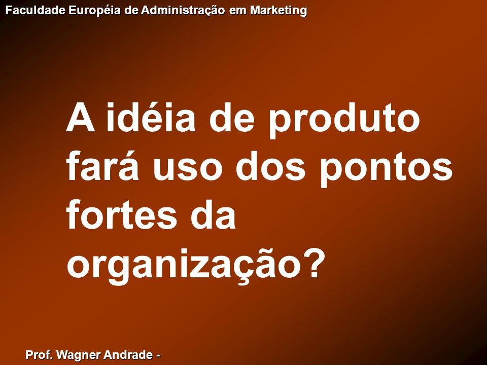 A idéia de produto fará uso dos pontos fortes da organização