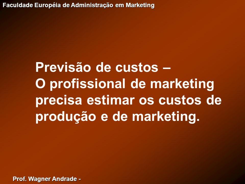 Previsão de custos –O profissional de marketing precisa estimar os custos de produção e de marketing.