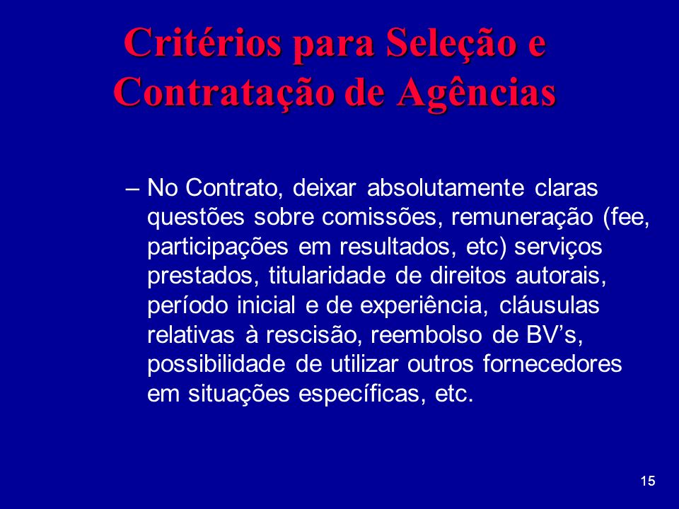 Critérios para Seleção e Contratação de Agências