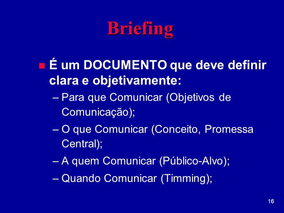 Briefing É um DOCUMENTO que deve definir clara e objetivamente: