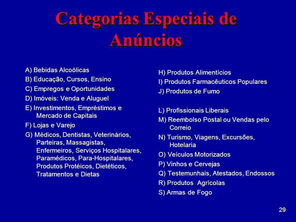 Categorias Especiais de Anúncios