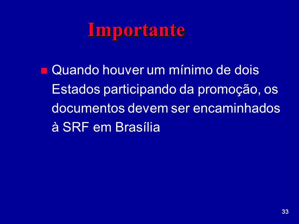 Importante Quando houver um mínimo de dois Estados participando da promoção, os documentos devem ser encaminhados à SRF em Brasília.