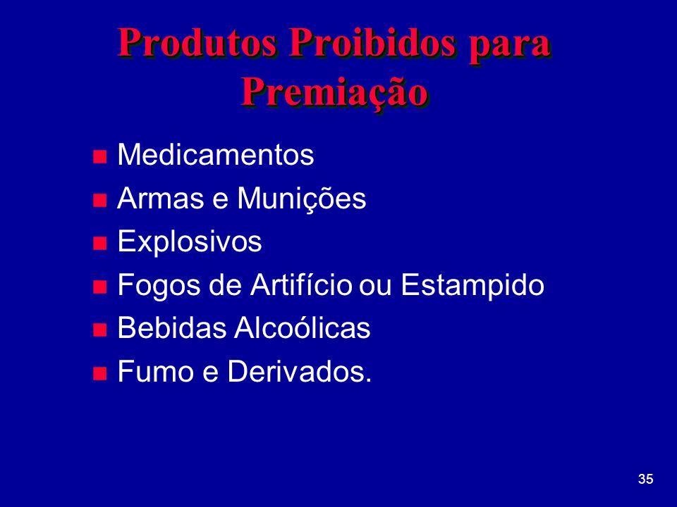 Produtos Proibidos para Premiação