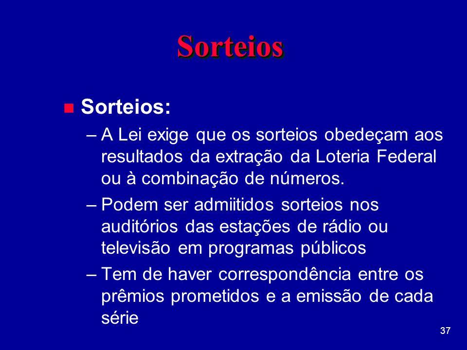 Sorteios Sorteios: A Lei exige que os sorteios obedeçam aos resultados da extração da Loteria Federal ou à combinação de números.