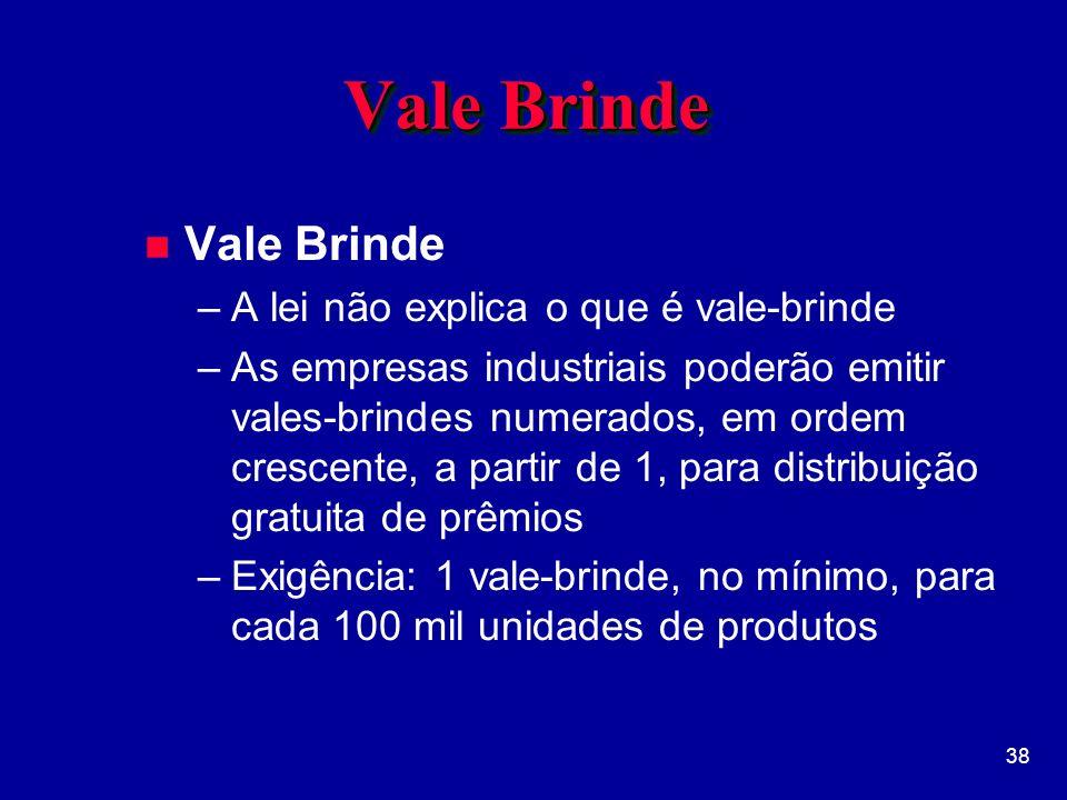 Vale Brinde Vale Brinde A lei não explica o que é vale-brinde