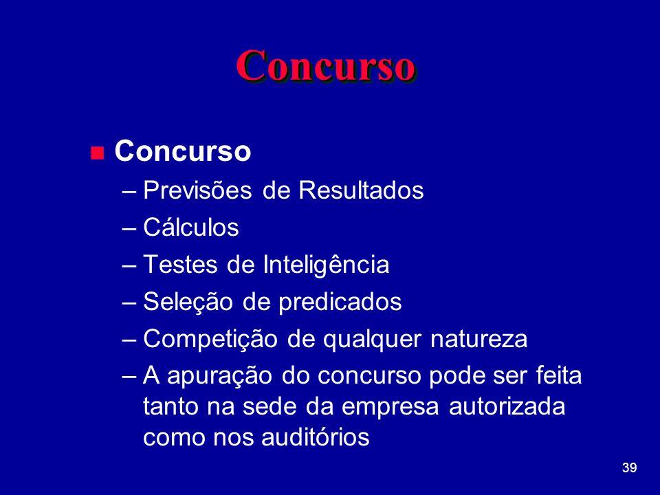 Concurso Concurso Previsões de Resultados Cálculos