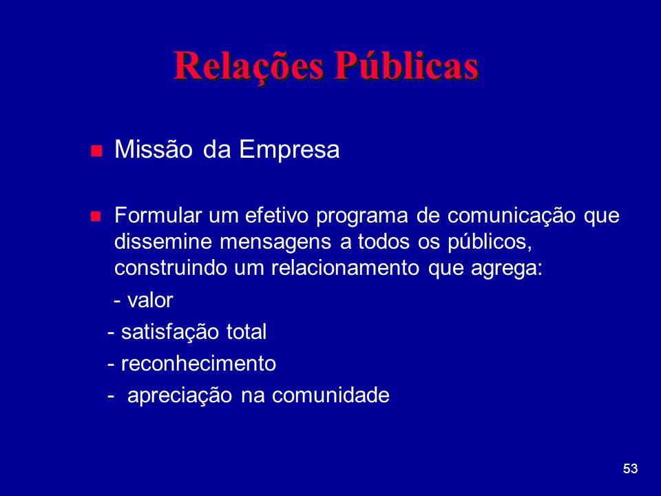 Relações Públicas Missão da Empresa