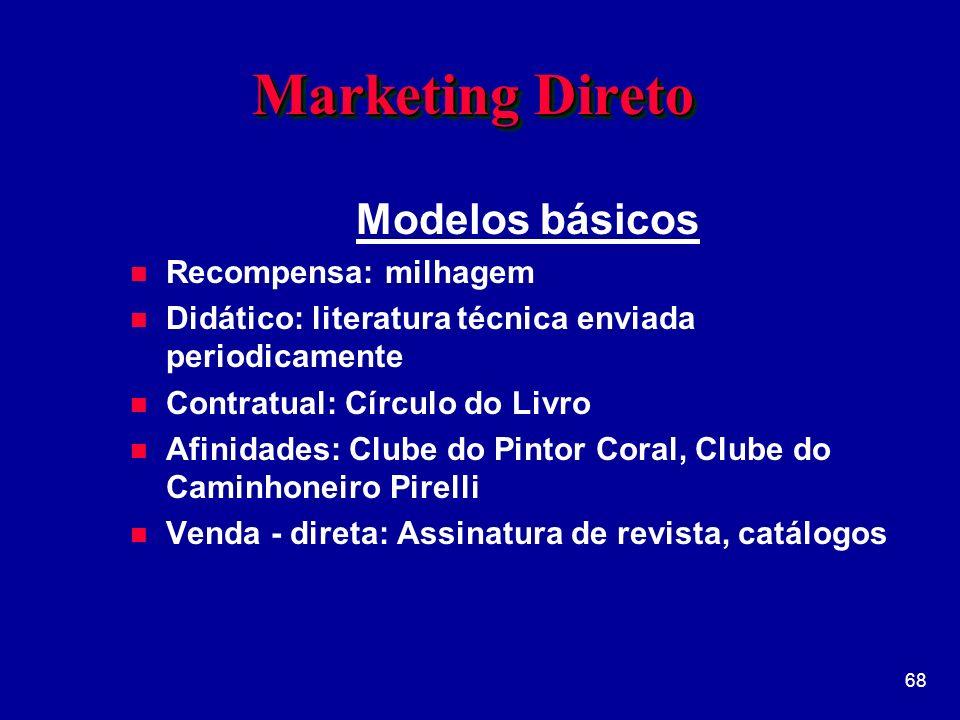 Marketing Direto Modelos básicos Recompensa: milhagem