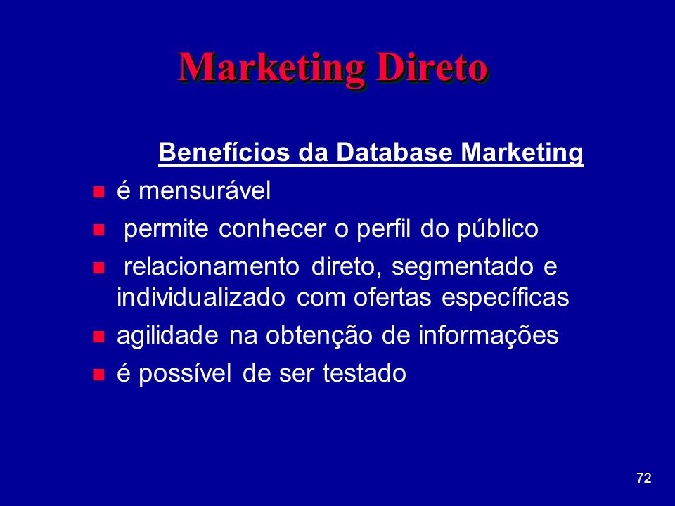 Benefícios da Database Marketing