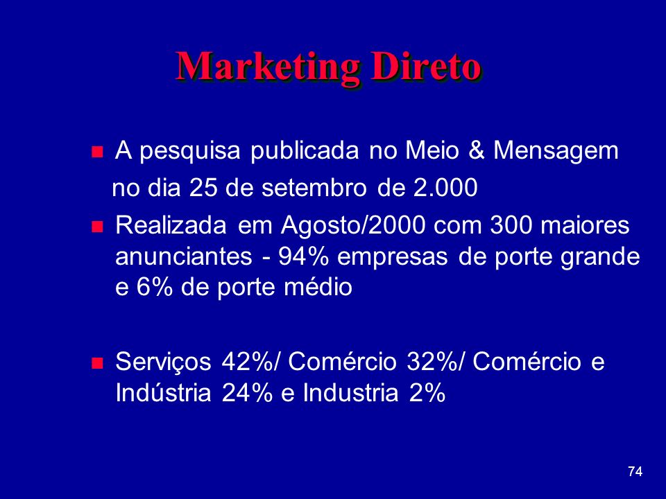 Marketing Direto A pesquisa publicada no Meio & Mensagem